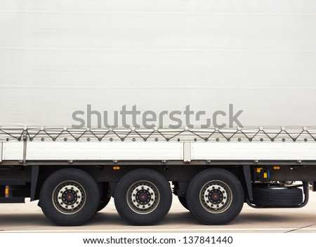 Cargo truck. Space for text on trailer - stock photo