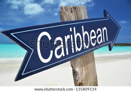 Caribbean arrow on the beach - stock photo