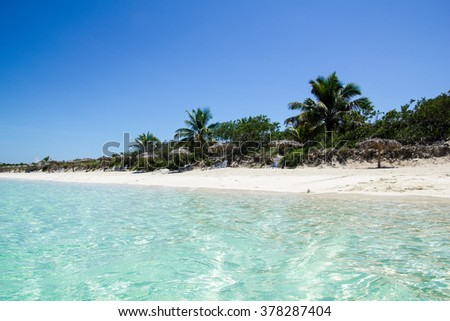 Caribbean beach in the Keys of St. Mary, an island surrounded by reefs, clear waters and white sands.