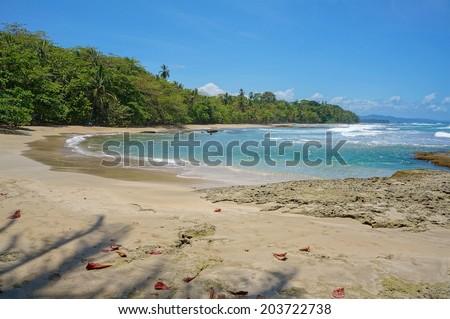 Caribbean beach of Costa Rica, playa Chiquita, Puerto Viejo de Talamanca - stock photo