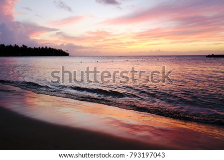 caribbean, beach, sunset