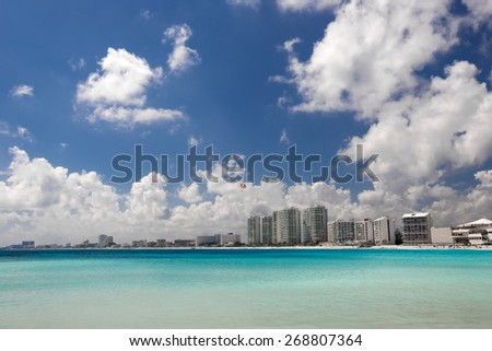 Caribbean beach view, Cancun, Mexico - stock photo