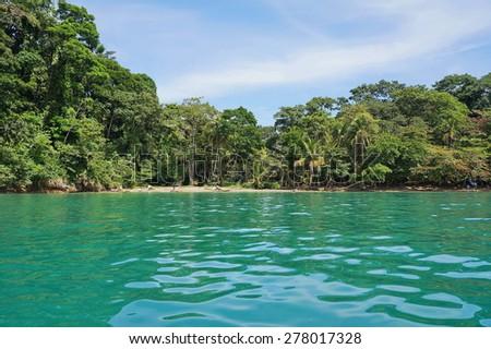 Caribbean coast of Costa Rica in Punta uva, Puerto Viejo de Talamanca - stock photo