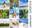 Caribbean collage. Holiday in Cancun Mexico - stock photo