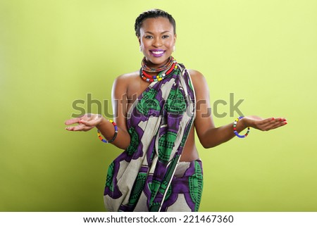 Caribbean girl in pattern fabric tunic