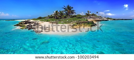 Caribbean island with perfect lagoon - stock photo