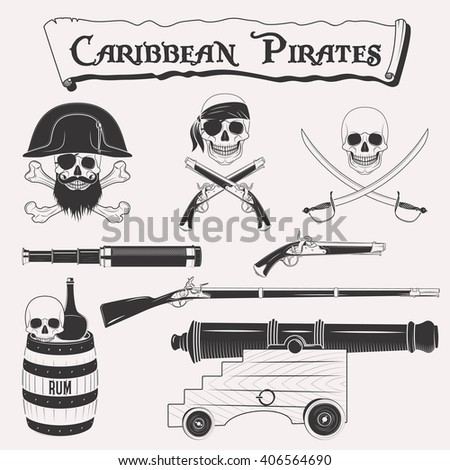 Caribbean pirates drawings set. Symbols of piracy - pirate hat, swords, weapons, black flag, cannon, jolly roger emblem, skull and crossbones elements - stock photo