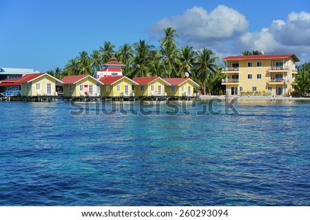 Caribbean resort with cabins over the water, Carenero island, Bocas del toro, Panama, Central America - stock photo