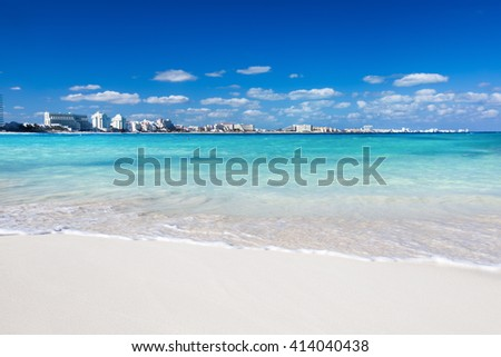 Caribbean sandy beach white sand and turquoise water  - stock photo