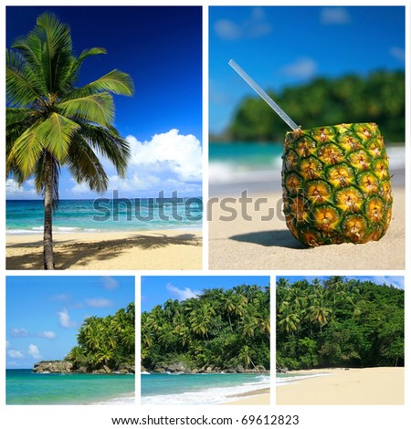 Caribbean sea collage. Beach with palm and and exotic coctail - stock photo
