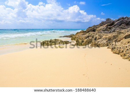 Caribbean sea scenery in Playacar ( Playa Del Carmen ), Mexico - stock photo