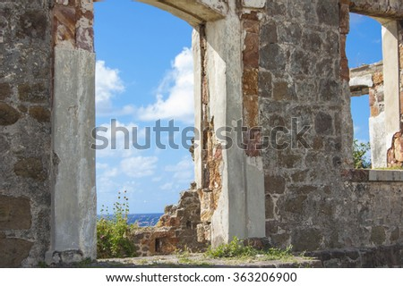 Caribbean Sea Through Old Door