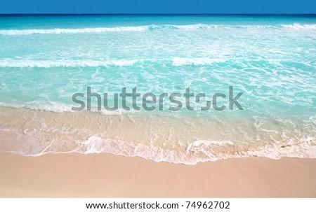 Caribbean turquoise beach perfect sea sunny day Mayan Riviera - stock photo