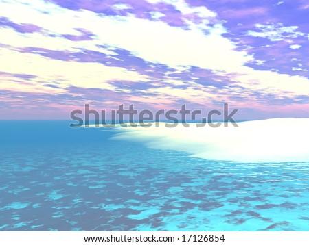 Caribbean Water's Edge - 3D Illustration - stock photo