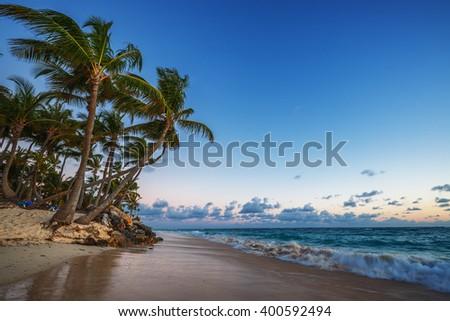 Caribbean wild beach, Punta Cana, sunrise shot - stock photo