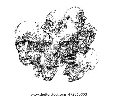 Caricature faces, Many heads, Crowd, Society,  Abstract Art, Portrait Society City  people sketch