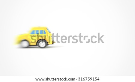 Caricature of a school bus. Little toy car of a Italian school bus - stock photo