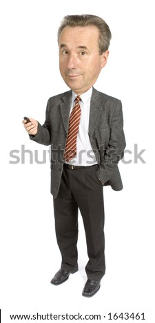 caricature of senior businessman with cell phone - stock photo