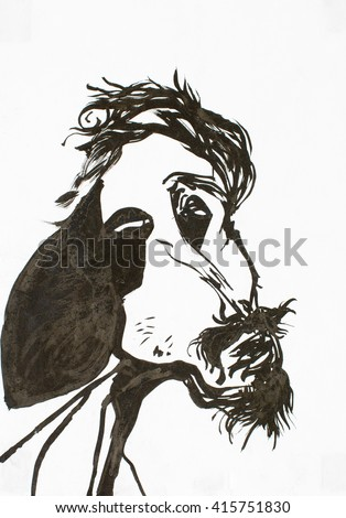 caricature, thin man painted in watercolour, frightening image of being - stock photo