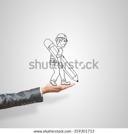 Caricatures of businessman in palm