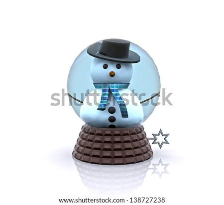 Carillon with cute Snowman greets - stock photo