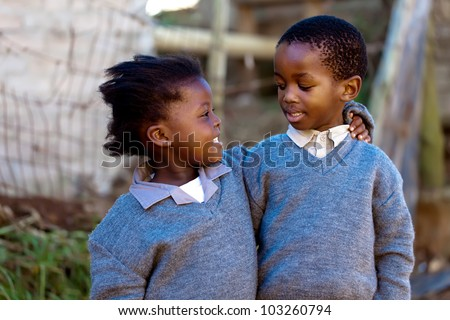 Caring and loving each other, these two relatives - stock photo