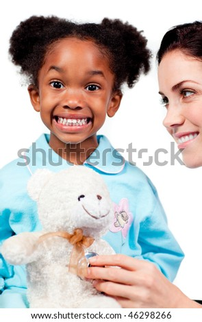 Caring female doctor playing with her patient against a white background - stock photo