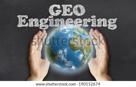 Caring for the Earth with Geo Engineering on Blackboard - stock photo