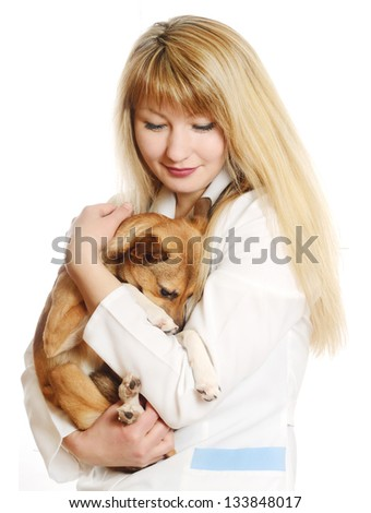 caring veterinarian holding a puppy