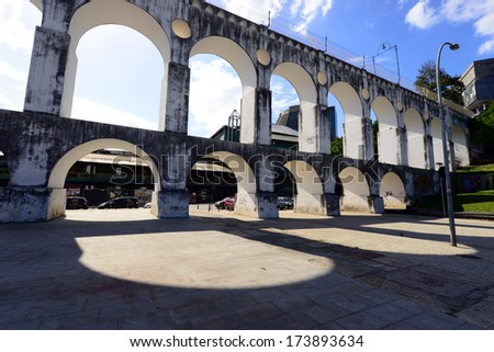 Carioca Aqueduct, a historical colonial structure in Lapa District of Rio de Janeiro, Brazil - stock photo