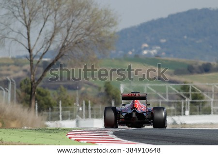 Carlos Sainz of Spain and Scuderia Toro Rosso drives during day two of F1 winter testing at Circuit de Catalunya on Marc 02, 2016 in Montmelo, Spain. - stock photo