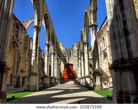 Carmo Church ruins in Lisbon, Portugal - stock photo