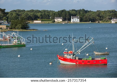 Carnac, France - August 11: View of small boats on the coast of Brittany near Carnac, France on August 11, 2014.