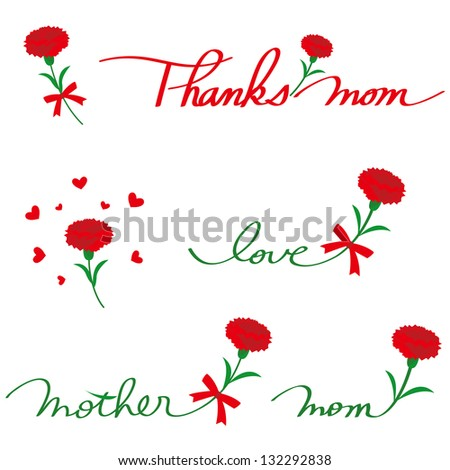 Carnation and letter - stock photo