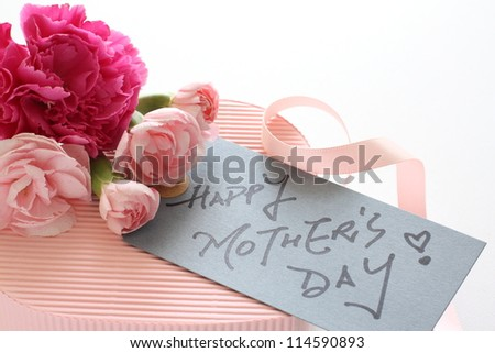 carnation and pink gift box for mother's day image