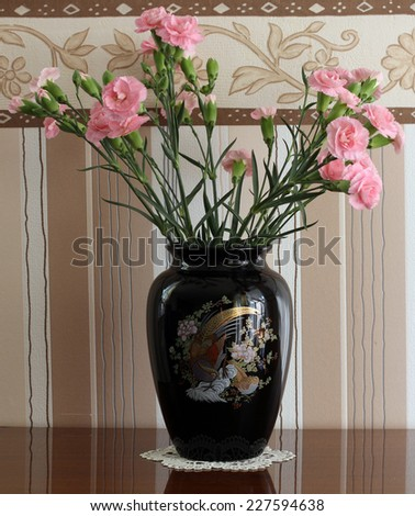 carnation flowers  in vase  - stock photo