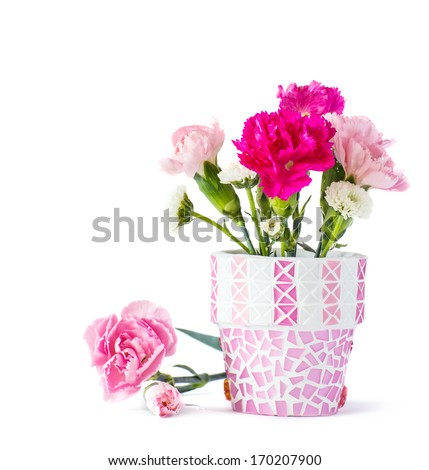 Carnation in mosaic flower pot  - stock photo