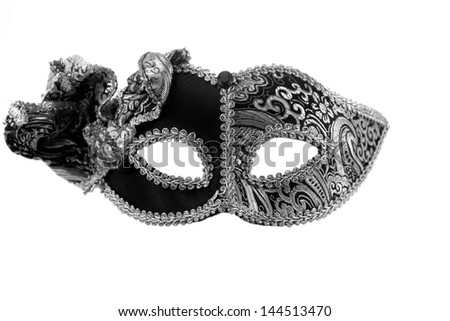 Carnaval mask  black white silver New year Christmas - stock photo