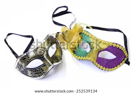 Carnaval mask isolated on white - stock photo