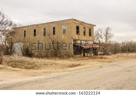 Carneiro (Portuguese for sheep fold), Kansas, was established in 1882.  This building was a general store in a town that is now a ghost town. - stock photo