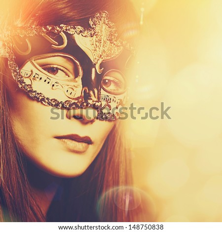 Carnival, Abstract female portrait for your design - stock photo