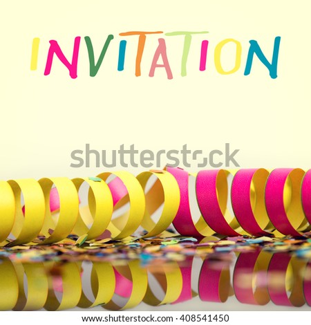 carnival background with deco like confetti and streamer, with the word invitation - stock photo