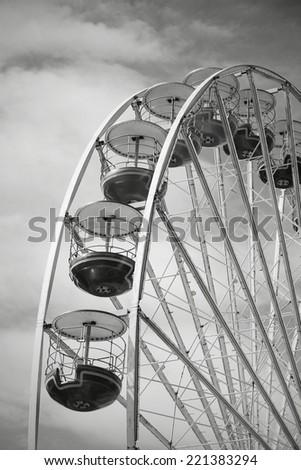Carnival carousel, monochrome effect. Vintage retros style. - stock photo