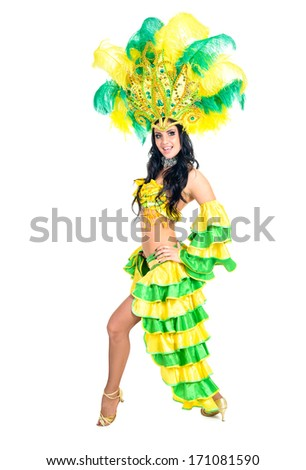 carnival dancer woman dancing against isolated white background - stock photo