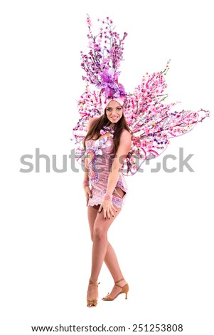 carnival dancer woman dancing , isolated on white background in full length. - stock photo