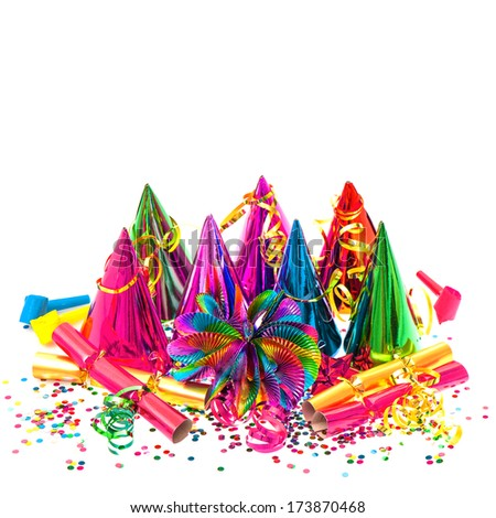 carnival decoration. garlands, streamer, party hats and confetti on white  background - stock photo