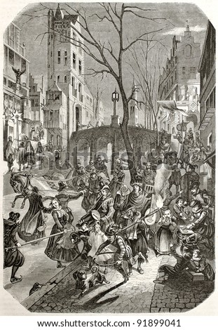 Carnival feast along the streets of an European northern town. After 17th century print by unknown author, published on Magasin Pittoresque, Paris, 1845 - stock photo