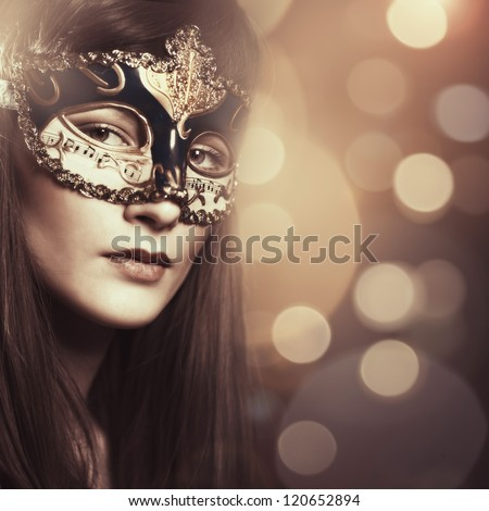 Carnival. Female portrait with beauty bokeh for your design - stock photo