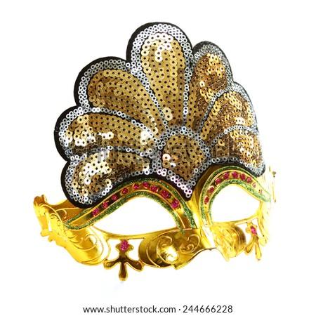 Carnival gold venetian mask - stock photo