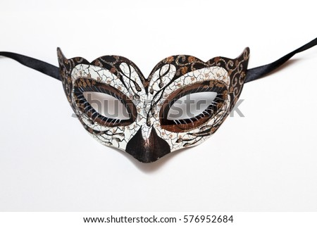 Carnival Halloween mask isolated on white background. Soft Focus